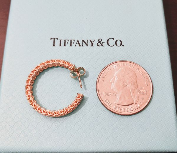 Tiffany & Co. Rubedo Medium Somerset Classic Hoop Earrings NEW