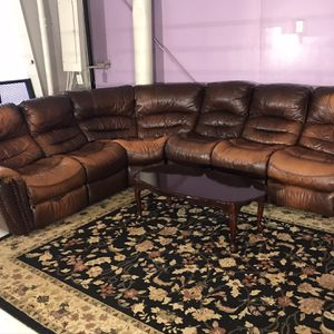 Nice Brown Leather Sectional Couch / 4-Piece Sectional Reclining Sofa for Sale in Decatur, GA