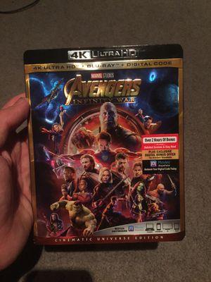 Still sealed brand new with slip marvel avengers 4k infinity war for Sale in Lakeside, CA