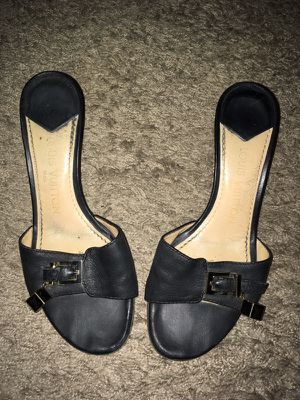 GORGEOUS AND AUTHENTIC PAIR OF BLACK LEATHER LOUIS VUITTON SHOES IN EXCELLENT USED CONDITION- EUROPEAN SIZE 36 1/2 (US SIZE 7, BUT CAN ALSO FIT A SIZ for Sale in St. Louis, MO