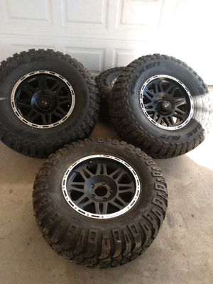 "JEEP wheels 5x5 17x8 and offset-0 35"" falken tires new for Sale in Ontario, CA"