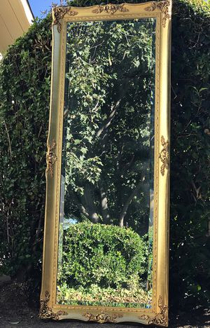 Stunning High-End Vintage A. J. Olson Large French Country Gold Gilt Wall/Floor Bevelled Mirror!! BEAUTY!! 68X27X2 for Sale in Mountain View, CA