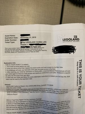 4 Legoland tickets. 1Day pass only. Can email or text you ticket. Expires 12/31/19 for Sale in Elk Grove, CA