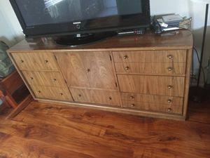 Nice heavy oak dresser 2 bookshelves and table for Sale in Las Vegas, NV