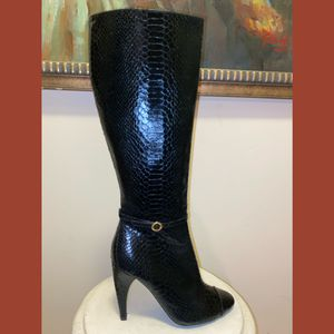 Sam Edelman black croc skin tall heeled boots women's 6.5 for Sale in Philadelphia, PA