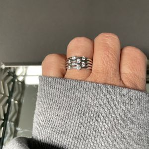 925 Silver CZ Scattered Stone Tension Suspension Set Band Ring for Sale in Phoenix, AZ