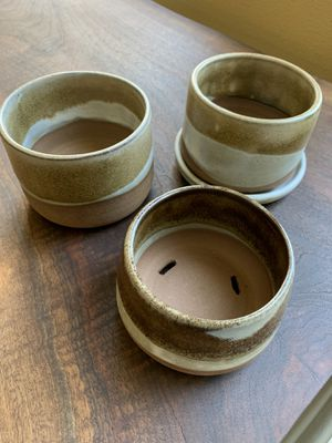 Unique handmade ceramic plant pots in beige and white glaze for Sale in Vancouver, WA