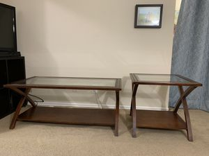 Wood coffee table and one side table for Sale in Santa Clara, CA