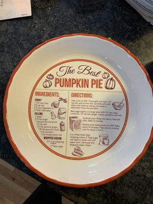 Ceramic pie plate with recipe for Sale in Oxford, MA