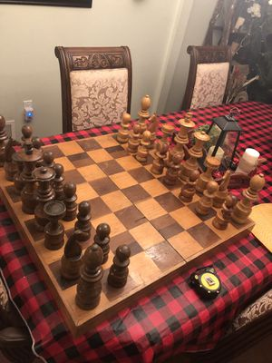 Large Antique Hand Carved Wooden Chess Set for Sale in Toms River, NJ