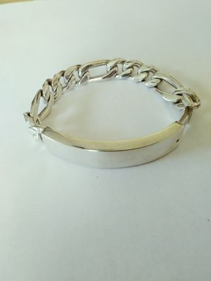 **HUGE &HEAVY** New Solid 925 Sterling Silver ID FIGARO BRACELET 83 grams 9-1/2 inch long and 14mm wide $275 OR BEST OFFER for Sale in Phoenix, AZ