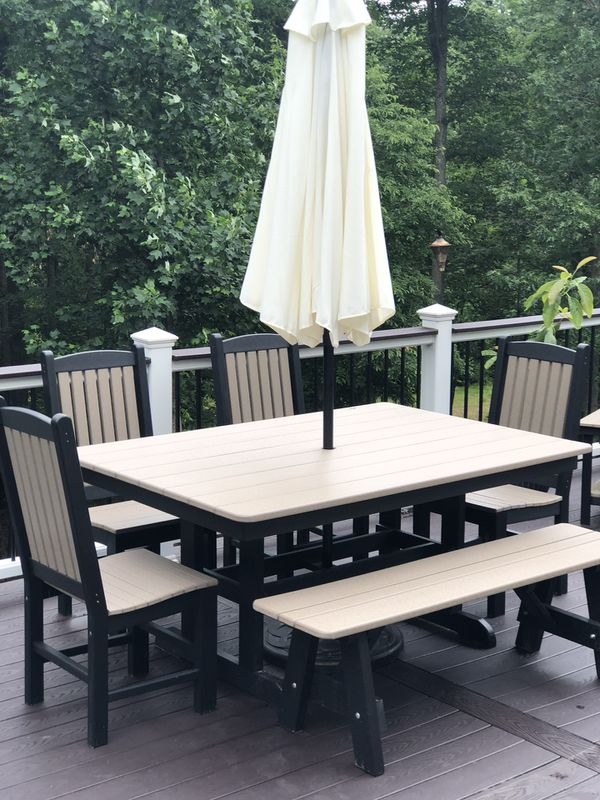 Brand New Amish Poly Farmhouse Outdoor Dining Set