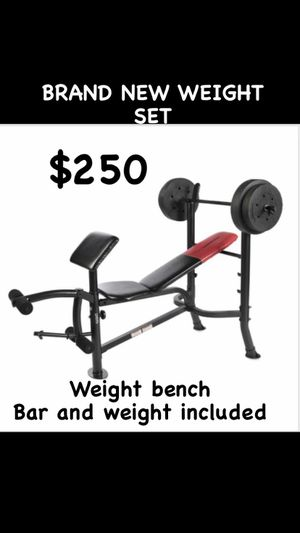 BRAND NEW IN BOX GYM SET!!! Get yours today bar and weights included for Sale in Hemet, CA