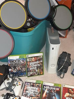 XBOX-360 Combo with 8 games Rockband Drum pedal two controllers , Dantes Inferno, Red Dead Redemption, Grand theft Auto + for Sale in West Los Angeles, CA