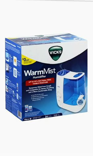 Vicks Warm Mist Humidifier NEW in Box 1 Gallon Capacity No Filter Required Vicks for Sale in Foster, RI