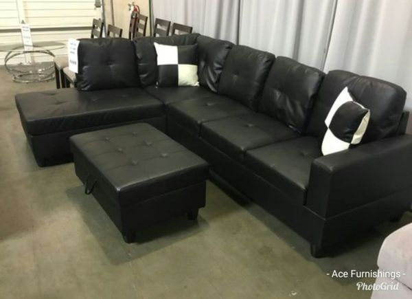 Brand New Black Leather Sectional With Storage Ottoman