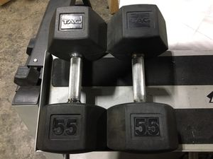 55lbs Tag Rubber Coated Dumbbells for Sale in Addison, TX