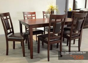 7pc Cappuccino Dining Set (Table & 6 Chairs) for Sale in Mesquite, TX