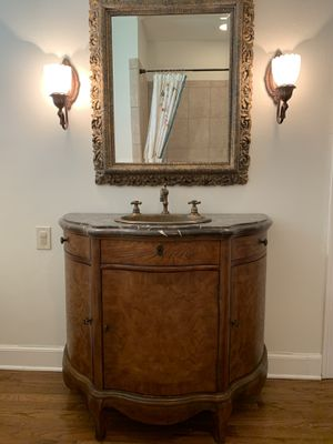 Demi Lune Vanity w/Granite Top and Brass Lav for Sale in Baton Rouge, LA