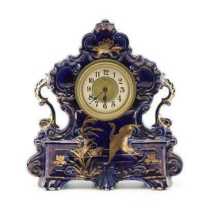 Beautiful Antique English Hand-Painted Porcelain Mantel Clock for Sale in Lakewood, CO