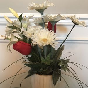 "❤️Red Tulips, White Daisies, White Lilies in White Wood Box 16""T for Sale in Lexington, KY"