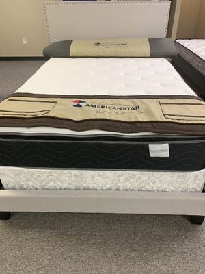 Full size bed with Sophia pillow top mattress brand new 10 year warranty for Sale in Irving, TX