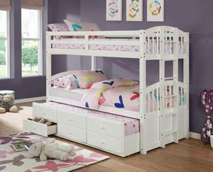 Happy White Twin Over Twin Bunk Bed with Storage Drawers and Twin Trundle for Sale in Houston, TX
