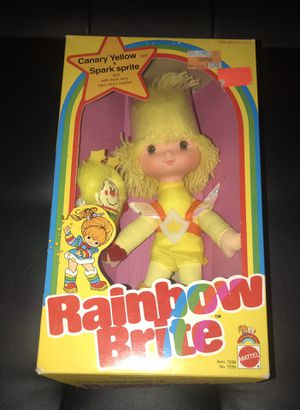 1983 vintage Rainbow Brite Canary Yellow with Spark Sprite Mattel Retro Collectible Doll - Brand new in box Antique toy No. 7235 from Asst 7239 for Sale in Sturtevant, WI