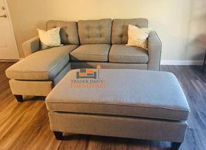 Brand New Light Grey Linen Sectional Sofa Couch + Ottoman for Sale in Arlington, VA