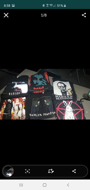 Lot of 6 shirts Marilyn Manson and 1 pentagram bunny sz S for Sale in Pembroke Pines, FL
