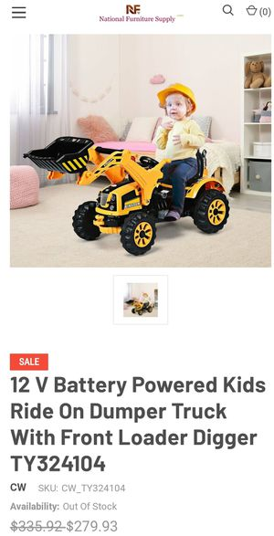 NEW IN THE BOX 12 V Battery Powered Kids Ride On Dumper Truck With Front Loader Digger for Sale in Riverside, CA