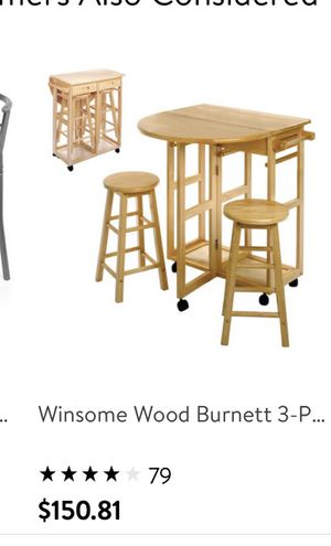 Table with 2 stools new color white for Sale in Bakersfield, CA