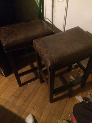 2 beautiful wood leather top stools for Sale in Chicago, IL
