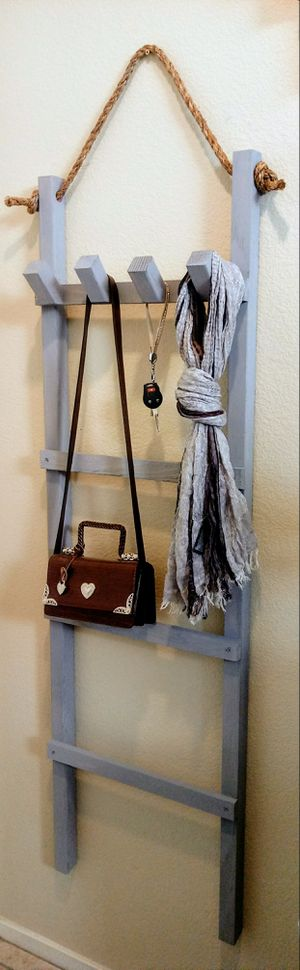 """60""""H X 18""""W X 2-1/2""""D 🌱4 Tier Solid Wood Hanging Rope Ladder with 4 Hooks ::: Rustic Still Gray for Sale in Las Vegas, NV"""
