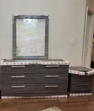 New Grey Dresser. Mirror. Two nightstands. Delivery for Sale in Lake Worth, FL