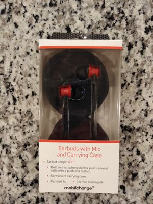 NEW Earbuds with Mic and Carrying Case for Sale in Rockville, MD