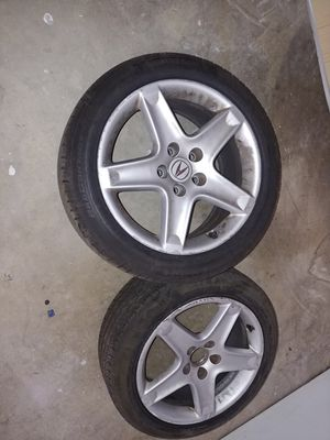 Acura wheels pair with good continental tires for Sale in Fontana, CA