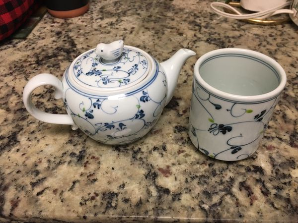 Japanese tea pot with cup