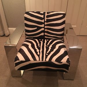 Cowhide Zebra and Chrome Lounge Chair for Sale in Houston, TX