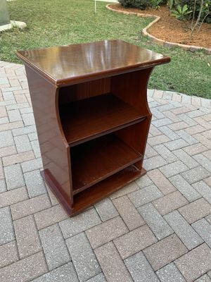 Solid Wooden Cherry Colored storage shelf, perfect shelving for the bedroom or Bathroom! Very sturdy. Dimensions: 21x14x29in for Sale in West Palm Beach, FL