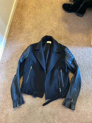 Zapa black jacket Motorcycle leather like black Zara cloth designer women's small sweatshirt cloth for Sale in San Diego, CA