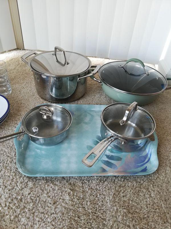 Dinner set+ glasses set+ pans + pots+ serving tray+wine glasses