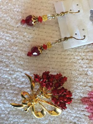 Valentine ❤️️ Beautiful Red Roses broach and Crystal earrings for Sale in Springfield, VA