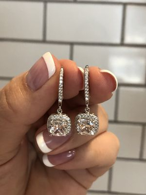 Brand New Stunning Sterling Silver 925 Earrings With CZ Diamonds for Sale in Los Angeles, CA
