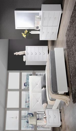 [SPECIAL] Brahma White Panel Bedroom Set | Queen and King Bed Frame/ Bedroom Set for Sale in Austin, TX