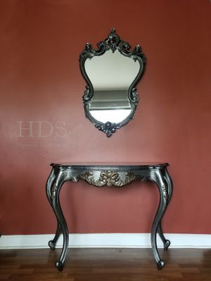 Antique Wood Table and Mirror - buffet vanity dresser console for Sale in Schaumburg, IL