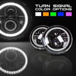"7"" LED Halo Projector Headlights W/ DRL Halo & Switchback Jeep JL JK Harley Davidson for Sale in Fullerton,  CA"