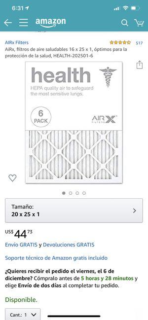 AIRx Filters 4.4 de 5 estrellas 517 Opiniones AiRx, filtros de aire saludables 16 x 25 x 1, óptimos para la protección de la salud, HEALTH-20x25 for Sale in Fontana, CA