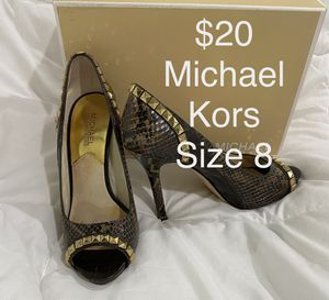 Michael Kors Women's Ella Peep Toe Heel Pump Shoe, brown studded size 8 Excellent condition, comes with original box for Sale in Westminster, CA