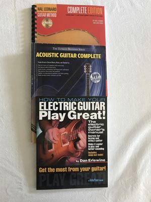 Guitar books, 3 total: Hal Leonard's Guitar Method complete Edition, Acoustic Guitar Complete,How to Make Your Electric Guitar Play Great for Sale in Silver Spring, MD